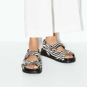 NWT, ZARA Zebra Calfhair Sandal